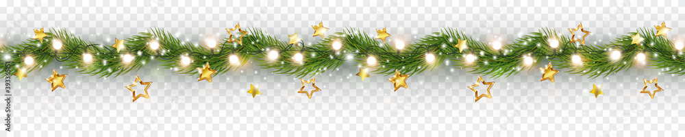 Fototapeta Border with green fir branches, gold stars, lights isolated on transparent background. Pine, xmas evergreen plants seamless banner. Vector Christmas tree garland decoration