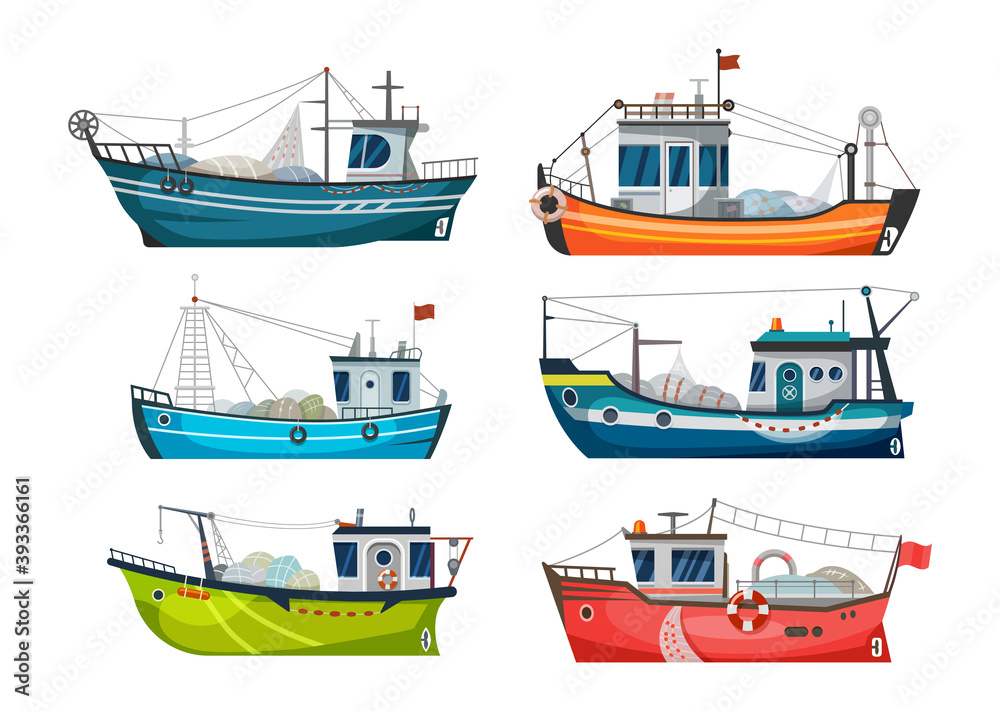 Fototapeta Boat, fishing ship or fisher trawler, vector sea fish catch vessel. Fishing boat or fisherman commercial fishery cargo with net and lure hook, seafood jigger and fish trawl boat, flat icons set