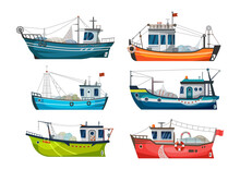 Boat, Fishing Ship Or Fisher Trawler, Vector Sea Fish Catch Vessel. Fishing Boat Or Fisherman Commercial Fishery Cargo With Net And Lure Hook, Seafood Jigger And Fish Trawl Boat, Flat Icons Set