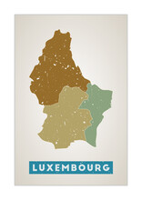 Luxembourg Map. Country Poster With Regions. Old Grunge Texture. Shape Of Luxembourg With Country Name. Creative Vector Illustration.