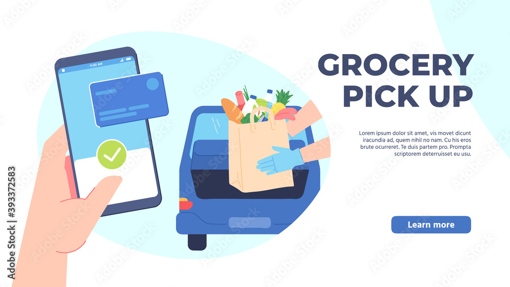 Fototapeta Grocery pickup. Safe shopping in store, order online and curbside pick up without leaving car. Hand phone orders food vector concept. Illustration service pick up shopping application, online order