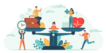 Health And Work On Scales. People Balance Job, Money And Sleep. Comparison Business Stress And Healthy Life. Tiny Employees Vector Concept. Measurement Equality Health And Work Illustration