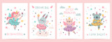 Animal princess in tutu. Magic fairy unicorn, bunny, cat and koala in ballet dresses. Scandinavian nursery ballerina print design vector set. Illustration ballet and unicorn, koala and bunny