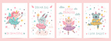 Animal Princess In Tutu. Magic Fairy Unicorn, Bunny, Cat And Koala In Ballet Dresses. Scandinavian Nursery Ballerina Print Design Vector Set. Illustration Ballet And Unicorn, Koala And Bunny