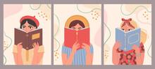 Women Reading Books. Hand Draw...