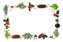 Festive Winter Solstice & Christmas Background  Border With Holly, Cedar Cypress Firs, Acorns & Ivy On White With Loose Berries. Composition For Xmas & New Year. Flat Lay, Top View, Copy Space.