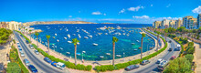 The Panoramic View On The St Paul's Bay Of Bugibba Resort, Malta
