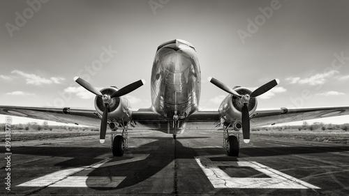 historical aircraft on a runway - fototapety na wymiar