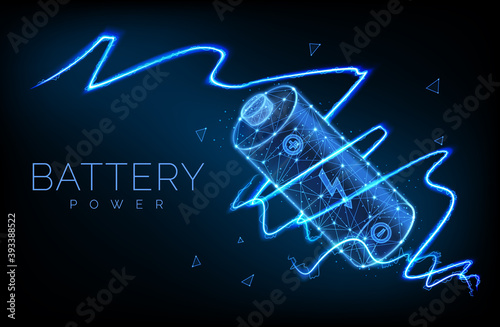 Obraz Abstract low poly battery charge from electric discharge or lightning, high voltage, long battery charge and energy, vector illustration - fototapety do salonu