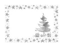 Watercolor Paint Christmas Card Frame Silver Metallic Elegant Handmade Painting Bush