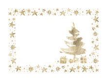 Watercolor Paint Christmas Card Frame Gold Metallic Elegant Handmade Painting Bush