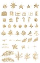 Watercolor Paint Christmas Ornaments Gold Metallic Elegant Handmade Bush