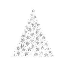 Watercolor Paint Christmas Card Stars Pine Tree Silver Metallic Elegant Handmade Painting Bush