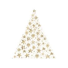 Watercolor Paint Christmas Card Stars Pine Tree Gold Metallic Elegant Handmade Painting Bush