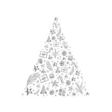 Watercolor Paint Christmas Card Ornaments Pine Tree Silver Metallic Elegant Handmade Painting Bush
