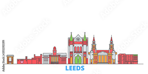 United Kingdom, Leeds cityscape line vector. Travel flat city landmark, oultine illustration, line world icons