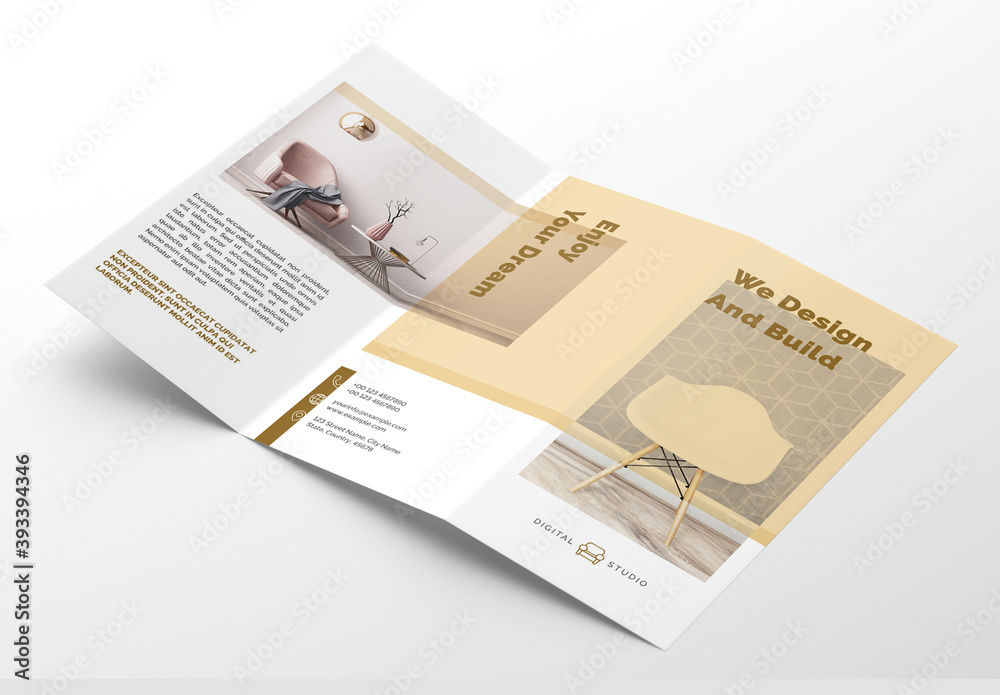 Fototapeta Interior Trifold Brochure Layout with Golden Accents