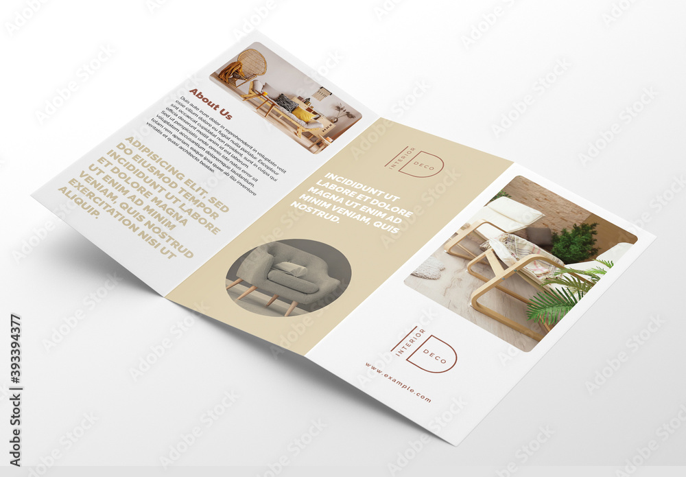 Fototapeta Interior Trifold Brochure Layout with Beige Accents
