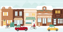Winter City Street Vector Illustration. Cartoon Christmas Eve Cityscape With Festive Decorated Shops And Cafe Houses Under Snow, Cyclists And Cars Carrying Decor Christmas Trees And Gifts Background