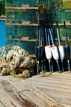 Maine Lobster Dock With Cages,...