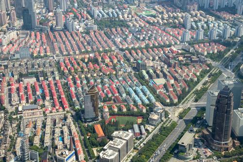 Quartier résidentiel à Shanghai, vue aérienne Canvas Print