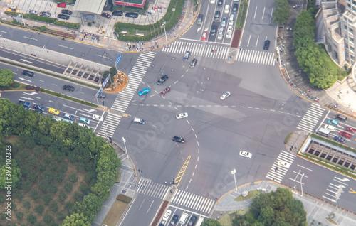 Carrefour à Shanghai, vue aérienne Canvas Print
