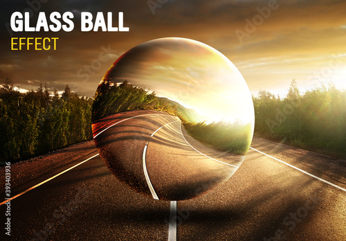 Glass Ball Photo Effect Mockup