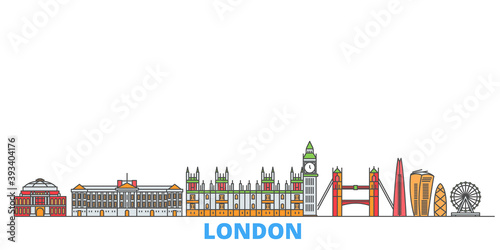 United Kingdom, London cityscape line vector. Travel flat city landmark, oultine illustration, line world icons
