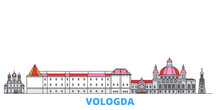 Russia, Vologda Cityscape Line Vector. Travel Flat City Landmark, Oultine Illustration, Line World Icons