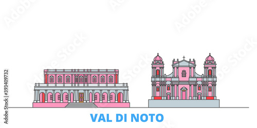 Italy, Val Di Noto cityscape line vector. Travel flat city landmark, oultine illustration, line world icons