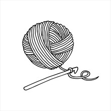 The Author Of The Illustration In The Style Of Doodle On The Topic Of Knitting, Crocheting. Ball Of Wool And Crochet Hook Isolated On White Background. Handicraft, Needlework.