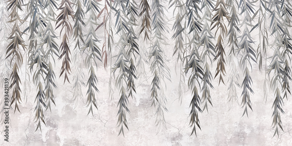 Photo wallpaper, wallpaper, mural design in the loft, classic, modern style. Willow branches on a gray concrete grunge wall.