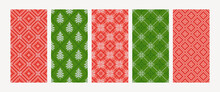 Collection Of Christmas Knitted Seamless Patterns With Snowflakes, Firs, Rhombs. Norwegian Style Sweater. Wool Texture. Vector Illustration. Set Of Holiday Argyle Backgrounds In Red, Green Colors.