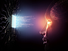 Artificial Intelligence Concept. Data Coming Out Of The Microchip Towards The Human Being With Android Characteristics.