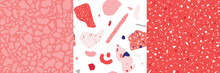 Three Vector Seamless Terrazzo Pink Coral Patterns. Marble Stone Surface. Fabric Paper Print Abstract Clipart