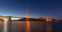 Illuminated Golden Gate Bridge...