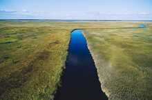 USA, Maryland, Drone View Of Marsh Along Nanticoke River On Eastern Shore
