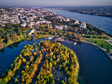 Aerial View Of Park At Strelka...