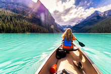 Canada, Alberta, Banff National Park, Canoeing On Lake Louise