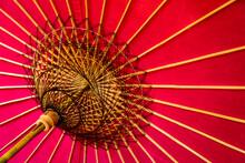 Underside Of Red Umbrella