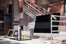 PC Monitor On Desk In Modern O...