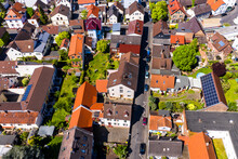 Germany, Hesse, Offenbach Am Main, Helicopter View Of Old Town Houses In Summer
