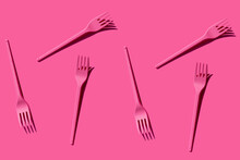 Pattern Of Pink Plastic Forks ...