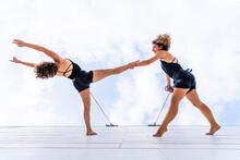 Aerial Dancers Dancing On Wind...