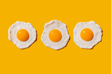 Studio Shot Of Three Fried Eggs