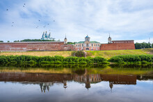 The Central Historical Part Of The Ancient City Of Smolensk. Remnants Of Defense Buildings And The Assumption Cathedral On The Slopes Of The Right Bank Of The Dnieper River.