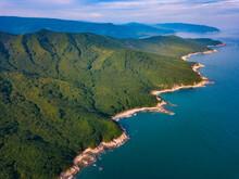 Russia,ÔøΩPrimorskyÔøΩKrai, Nakhodka, Aerial View Of Green Coastal Hills