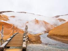 Iceland, Southern Region, Small Bridge In Hveradalir Hot Springs