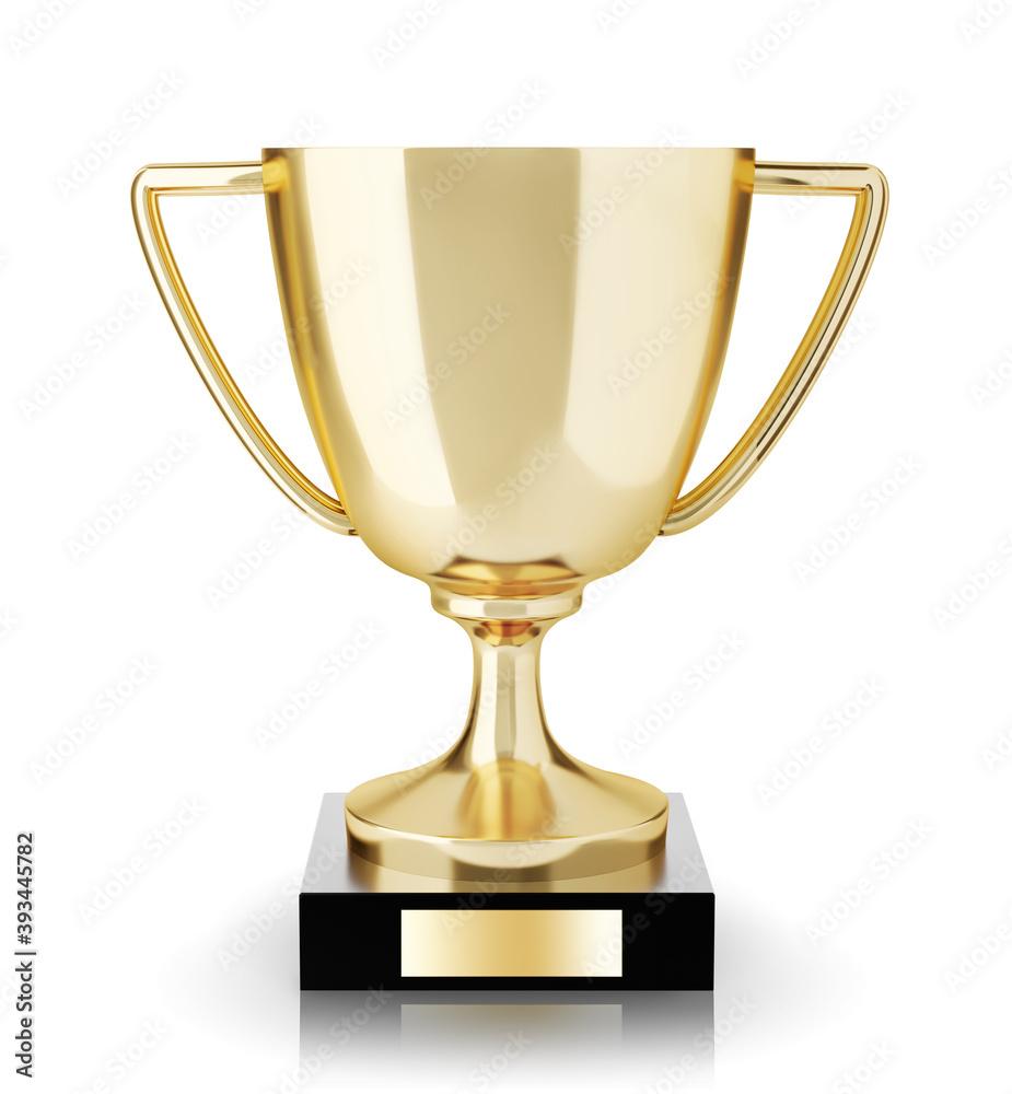 Fototapeta Golden trophy isolated on white background.