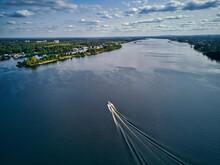 Boat Leaving Wake On Volga Riv...